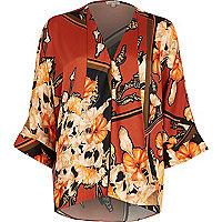 Orange print kimono blouse