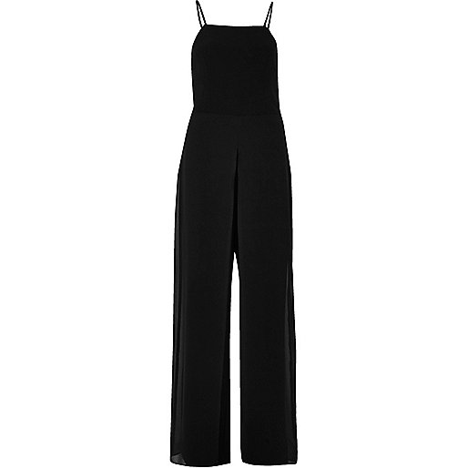 Black chiffon wide leg jumpsuit