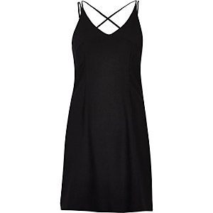 Black strappy slip dress