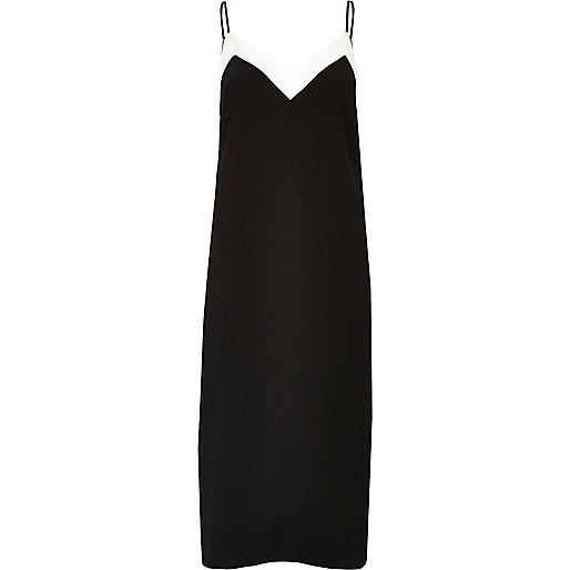 Black block panel slip dress