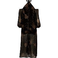 Robe longue noire à imprimé avec épaules dénudées