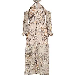 Robe longue imprimé crème à épaules dénudées