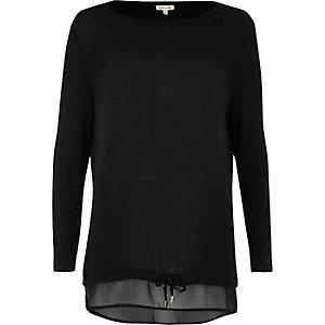 Black tied hem layered top