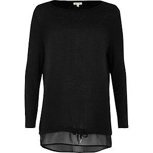 Black tied hem layered top