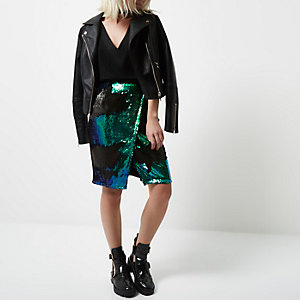 Petite green sequin wrap midi skirt