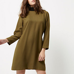Petite khaki green contrast neck shift dress
