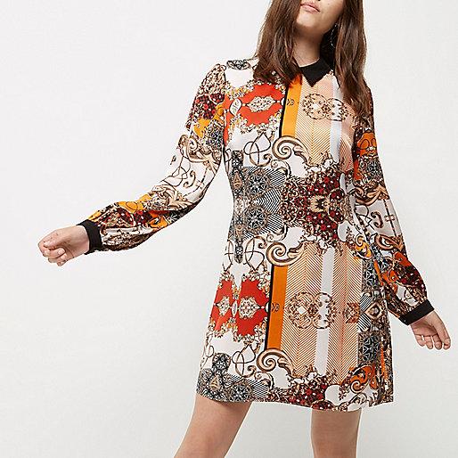 Petite orange print collar shift dress
