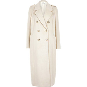Cream duster military coat