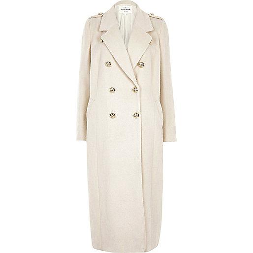 Long manteau militaire crème