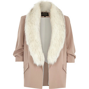 Beige blazer with faux fur collar