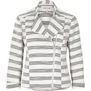 Veste en tweed rayée grise style motard