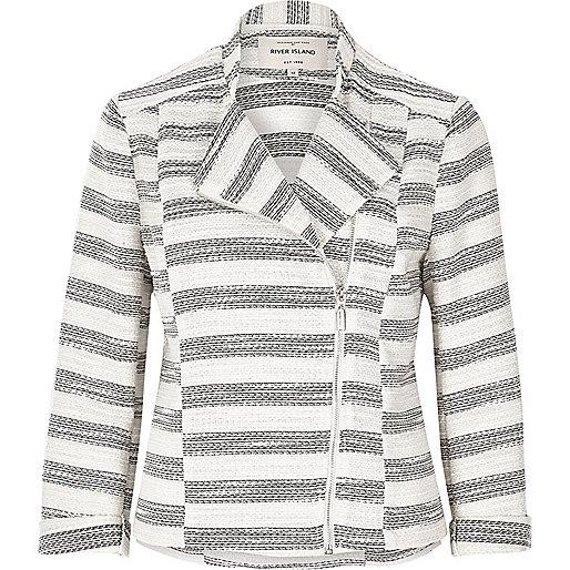 Grey stripe tweed biker jacket