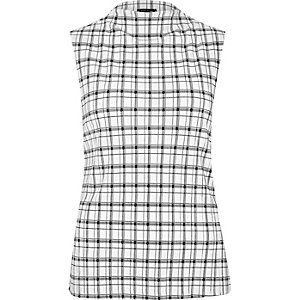 White check pleated tank top