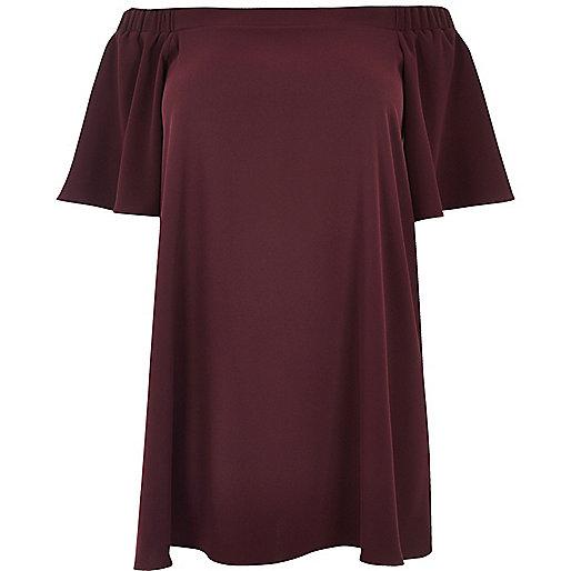 Plus – Schulterfreies Swing-Kleid