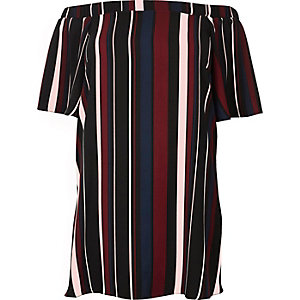 RI Plus red stripe bardot swing dress