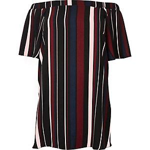 RI Plus red stripe bardot swing dress
