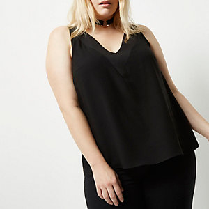 RI Plus black T-bar cami top