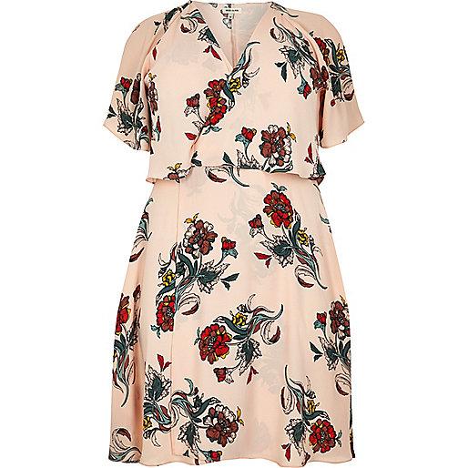 Plus pink floral print frill midi dress