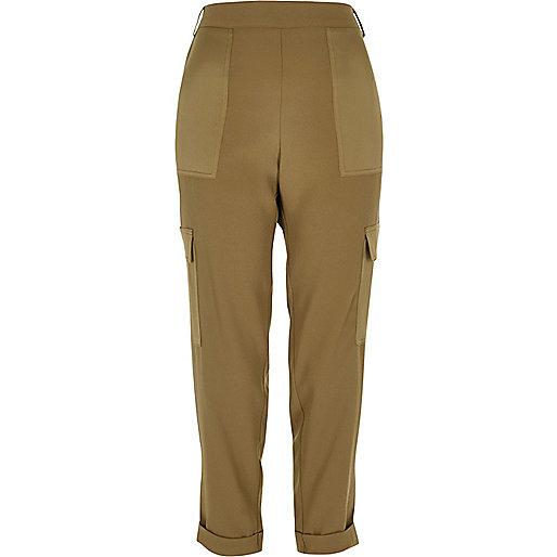 Pantalon doux style militaire kaki