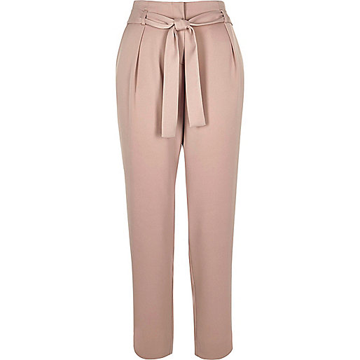 Pink soft tie tapered pants