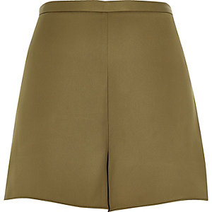Khaki smart high waisted shorts