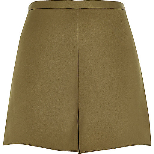 Khaki smart high waisted shorts
