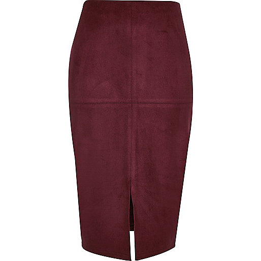Dark red faux suede pencil skirt