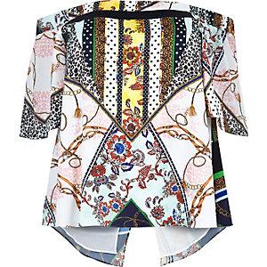 White RI Plus floral print bardot top
