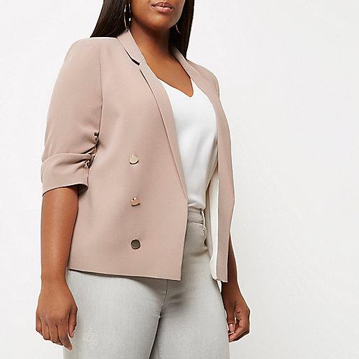 Plus blush pink ruched sleeve blazer