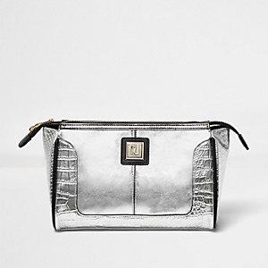 Silver textured panel make-up bag