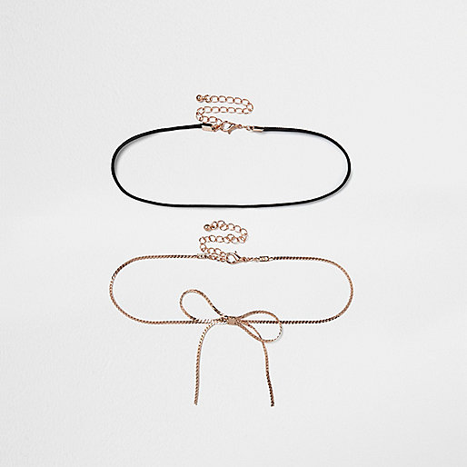 Black string and rose gold chain choker set