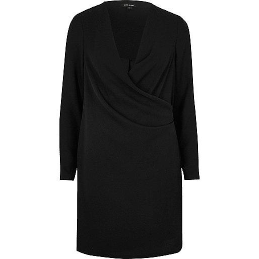 Robe drapée noire style portefeuille