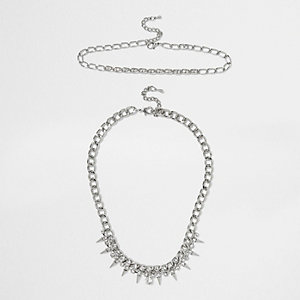 Silver tone crystal spike chain necklace