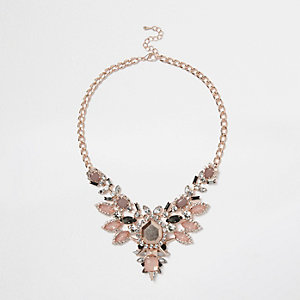 Gold tone pretty clustered statement necklace