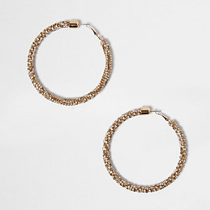 Gold tone rope hoop earrings