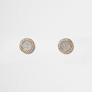 Gold tone glitter circle stud earrings