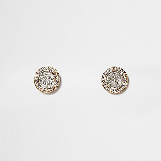 Gold tone glitter circle stud earrings