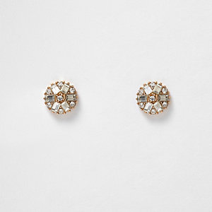 Gold tone gem flower stud earrings