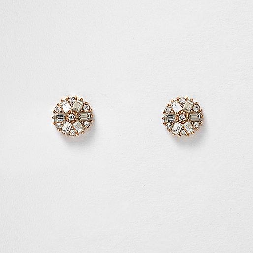 Boucles d'oreilles dorées avec fleurs en pierres fantaisie