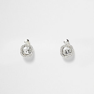 White silver tone crystal drop earrings