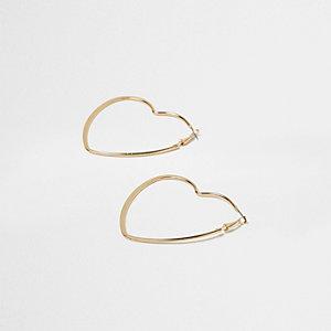 Gold tone heart hoop earrings