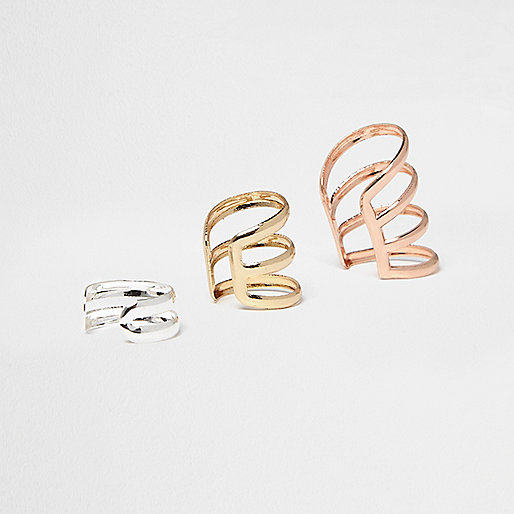 Rose gold, gold and silver tone cuffs pack
