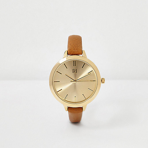 Brown skinny strap watch