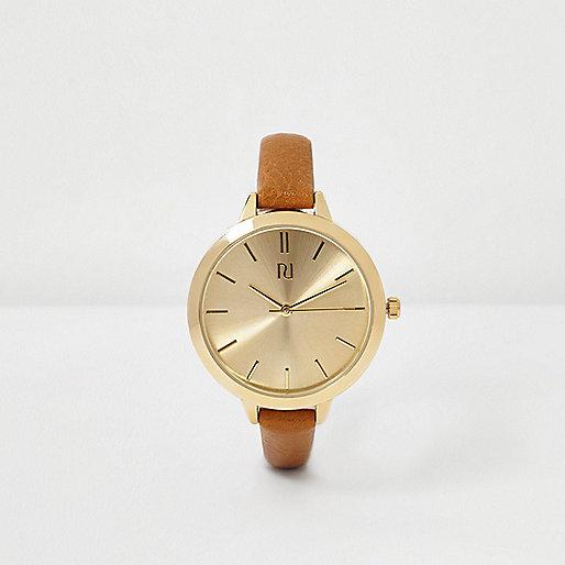 Brown skinny strap watch