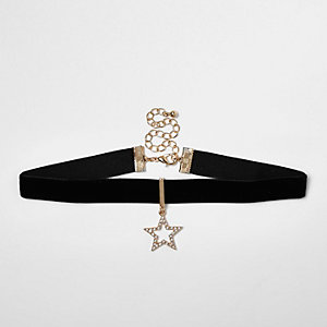 Black diamanté star drop choker