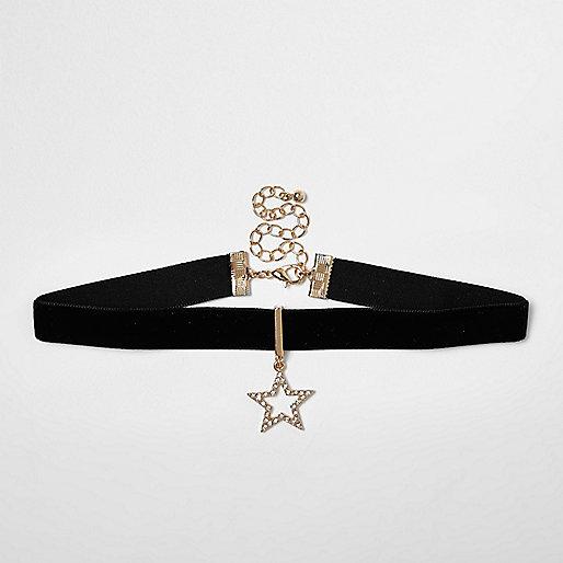 Collier ras du cou à pendentif étoile à strass noirs