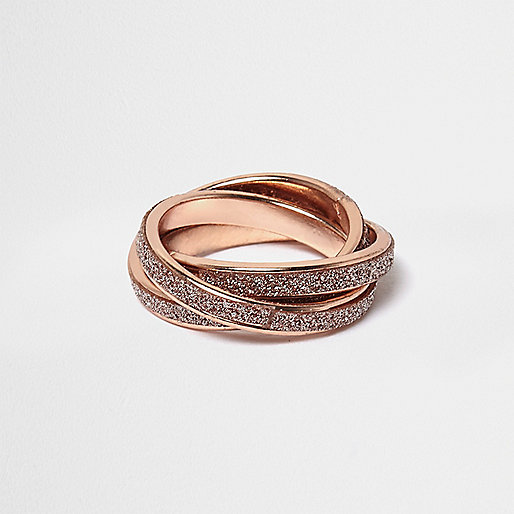 Rose gold tone twisted glitter ring