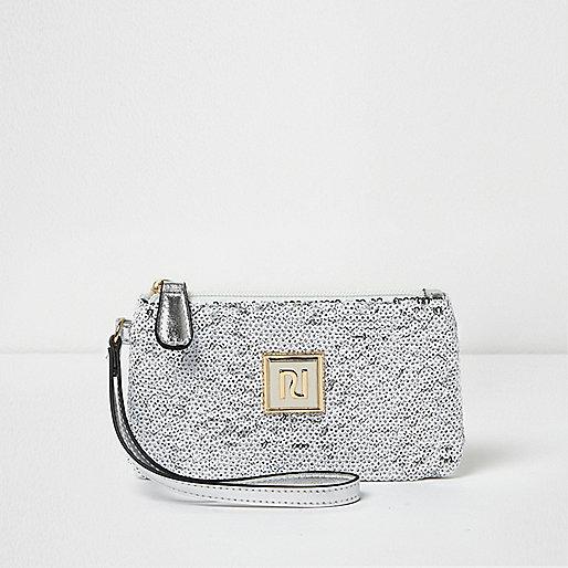 White and silver sequin mini pouch purse