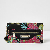 Black floral embroidered foldover purse