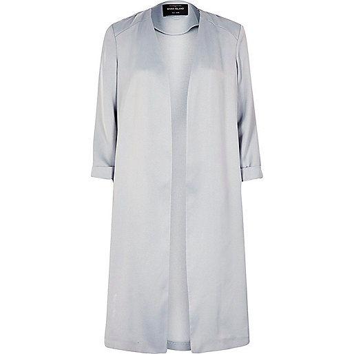 Light grey satin duster jacket